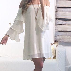 Beige mid dress